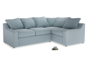 Large Right Hand Cloud Corner Sofa in Soothing blue washed cotton linen
