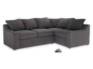 Large Right Hand Cloud Corner Sofa in Graphite grey clever cotton