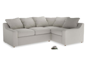 Large Right Hand Cloud Corner Sofa in Moondust grey clever cotton