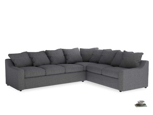 Xl Right Hand Cloud Corner Sofa in Strong grey clever woolly fabric