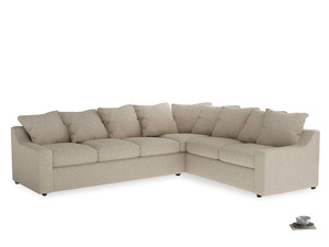 Xl Right Hand Cloud Corner Sofa in Flagstone clever woolly fabric