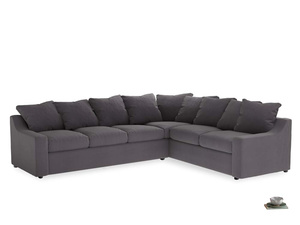 Xl Right Hand Cloud Corner Sofa in Graphite grey clever cotton