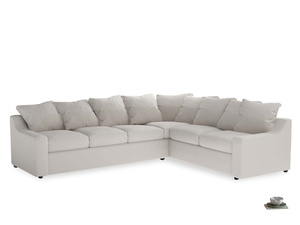 Xl Right Hand Cloud Corner Sofa in Chalk clever cotton
