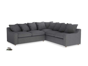 Even Sided Cloud Corner Sofa in Strong grey clever woolly fabric