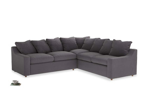 Even Sided Cloud Corner Sofa in Graphite grey clever cotton