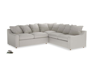 Even Sided Cloud Corner Sofa in Moondust grey clever cotton