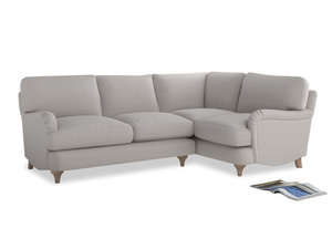 Large Right Hand Jonesy Corner Sofa in Lunar Grey washed cotton linen