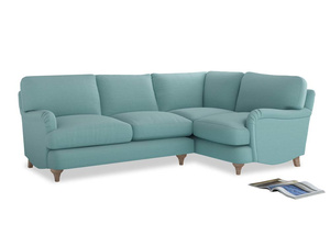 Large Right Hand Jonesy Corner Sofa in Adriatic washed cotton linen