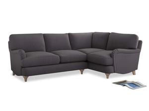 Large Right Hand Jonesy Corner Sofa in Graphite grey clever cotton