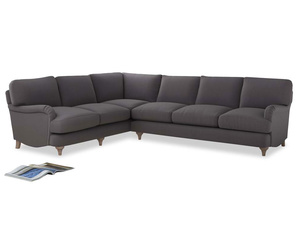 Xl Left Hand Jonesy Corner Sofa in Graphite grey clever cotton