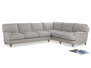 Xl Right Hand Jonesy Corner Sofa in Lunar Grey washed cotton linen