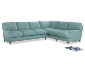 Xl Right Hand Jonesy Corner Sofa in Adriatic washed cotton linen