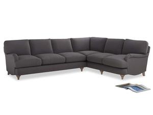 Xl Right Hand Jonesy Corner Sofa in Graphite grey clever cotton