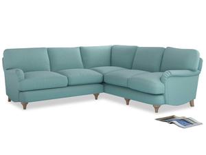 Even Sided Jonesy Corner Sofa in Adriatic washed cotton linen