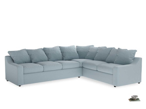 Xl Right Hand Cloud Corner Sofa in Soothing blue washed cotton linen