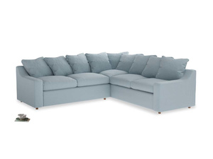 Even Sided Cloud Corner Sofa in Soothing blue washed cotton linen