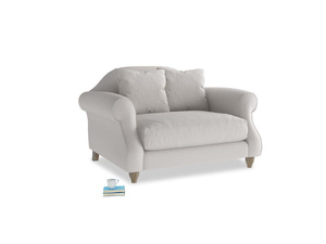 Sloucher Love seat in Lunar Grey washed cotton linen