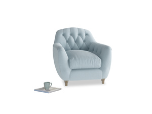 Butterbump Armchair in Soothing blue washed cotton linen