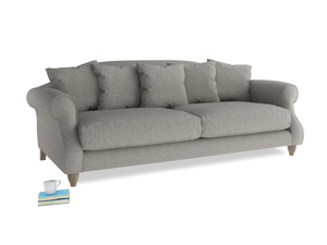 Large Sloucher Sofa in Marl grey clever woolly fabric