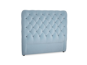Double Tall Billow Headboard in Chalky blue vintage velvet