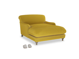 Pudding Love seat chaise in Bumblebee clever velvet