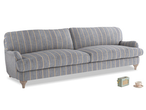 Extra large Jonesy Sofa in Brittany Blue french stripe