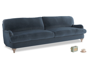 Extra large Jonesy Sofa in Liquorice Blue clever velvet