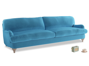 Extra large Jonesy Sofa in Teal Blue plush velvet
