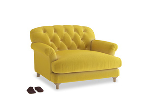 Truffle Love seat in Bumblebee clever velvet