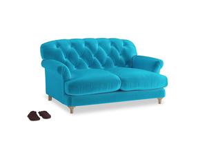 Small Truffle Sofa in Azure plush velvet