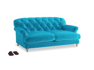 Medium Truffle Sofa in Azure plush velvet
