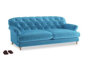 Large Truffle Sofa in Teal Blue plush velvet