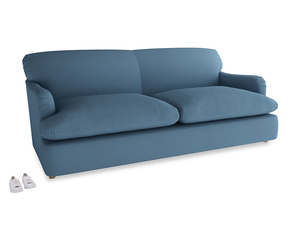 Large Pudding Sofa Bed in Easy blue clever linen