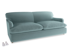Large Pudding Sofa Bed in Lagoon clever velvet