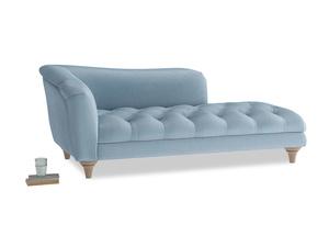 Left Hand Slumber Jack Chaise Longue in Chalky blue vintage velvet