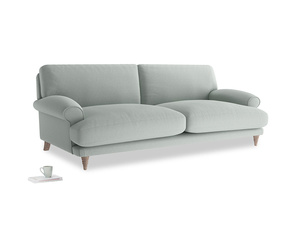Large Slowcoach Sofa in French blue brushed cotton