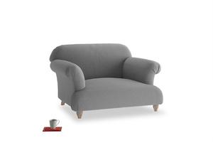 Soufflé Love seat in Gun Metal brushed cotton