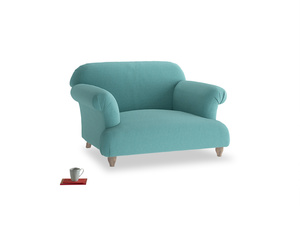 Soufflé Love seat in Peacock brushed cotton