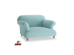 Soufflé Love seat in Adriatic washed cotton linen