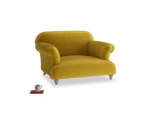 Soufflé Love seat in Burnt yellow vintage velvet
