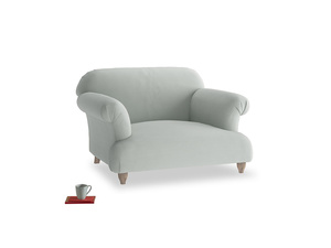 Soufflé Love seat in Eggshell grey clever cotton