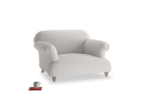 Soufflé Love seat in Lunar Grey washed cotton linen