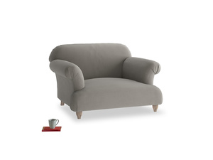 Soufflé Love seat in Monsoon grey clever cotton