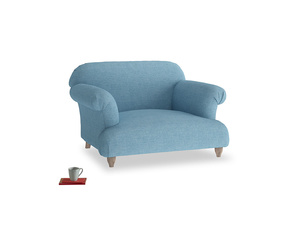 Soufflé Love seat in Moroccan blue clever woolly fabric