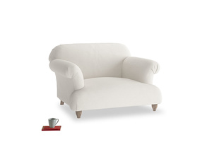 Soufflé Love seat in Oyster white clever linen