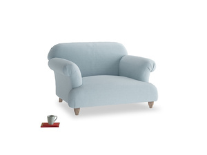 Soufflé Love seat in Soothing blue washed cotton linen