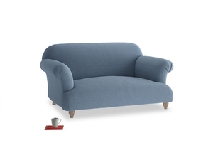 Small Soufflé Sofa in Nordic blue brushed cotton