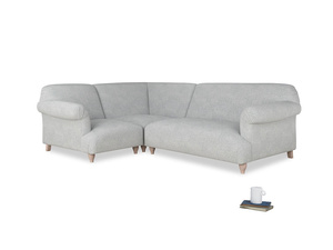 Large left hand Soufflé Modular Corner Sofa in Pebble vintage linen with both arms