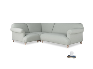 Large left hand Soufflé Modular Corner Sofa in Eggshell grey clever cotton with both arms