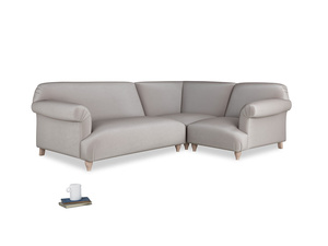 Large right hand Soufflé Modular Corner Sofa in Soothing grey vintage velvet with both arms